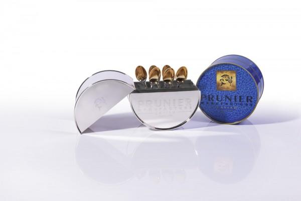 Robbe & Berking - Silberne Prunier Caviar Dose mit 6 Kaviarlöffel, teilweise vergoldet