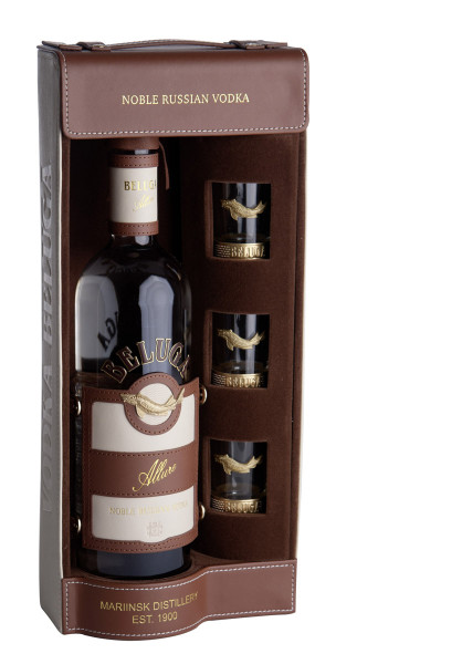 Beluga Allure with 3 shot glasses and gift box